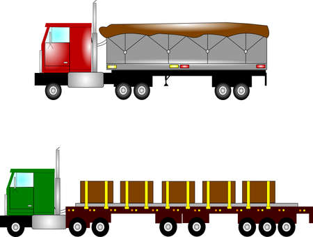 18 wheeler: trucks with 2 types of loads