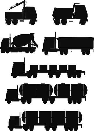 vrachtwagens in silhouet set