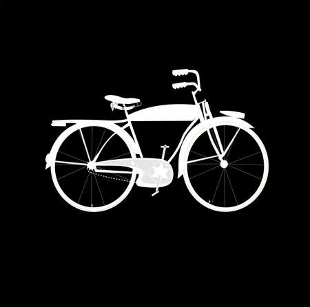 reverse: bicycle in white over black background  Illustration