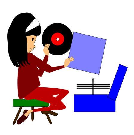 elvonult: fiatal lány játszik rekordok szobájába