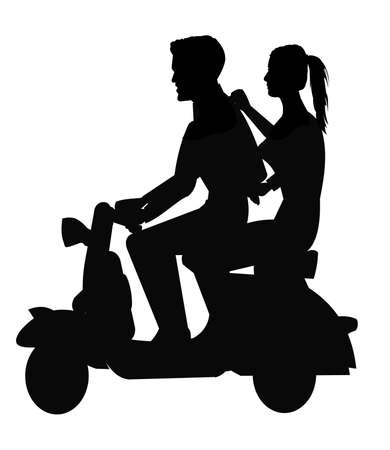 electric motor: boy and girl on scooter silhouette