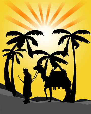 reins: traveller in the desert silhouette Illustration