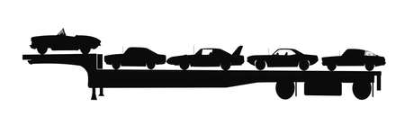 cars in silhouette on trailer