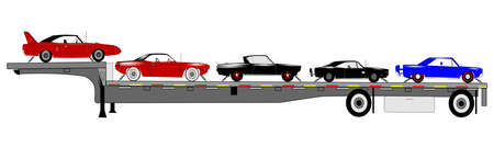 barracuda: muscle cars on trailer ready for delivery