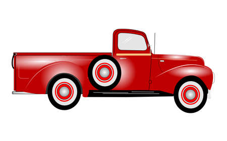 1941 red pickup truck  Vector