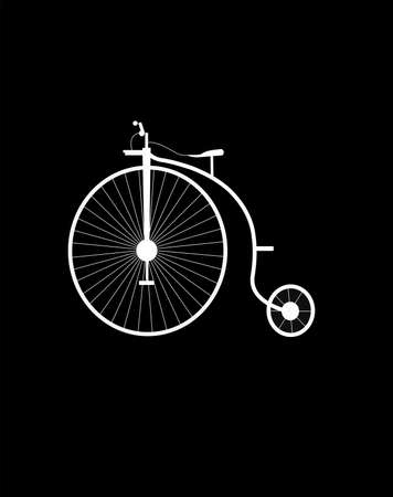 reverse: vintage unicycle in silhouette