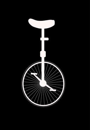 reverse: unicycle in silhouette over black