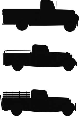 pick up trucks in silhouette  Vector