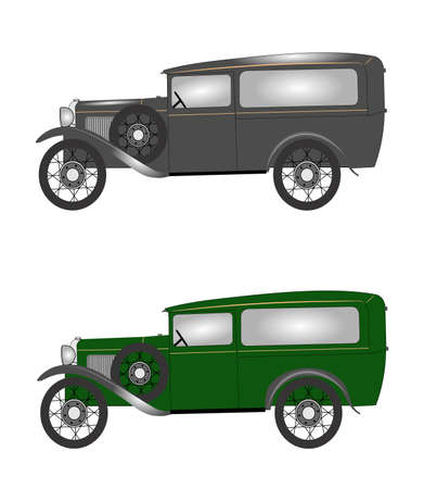 vintage 1931 delivery van in 2 styles Vector