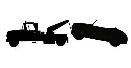 tow truck towing a car Illustration