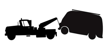 towing: tow truck towing a van