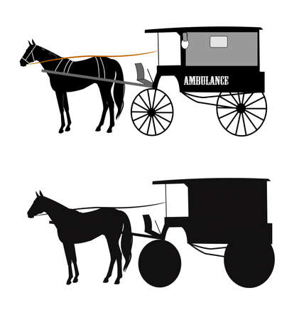 horse drawn carriage: horse drawn ambulance