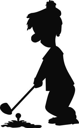 golfer silhouette at tee off