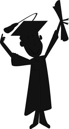 卒業生のシルエット