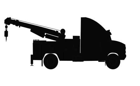 zware sleepwagen silhouet Stock Illustratie