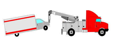 duty: heavy duty tow truck towing van  Illustration