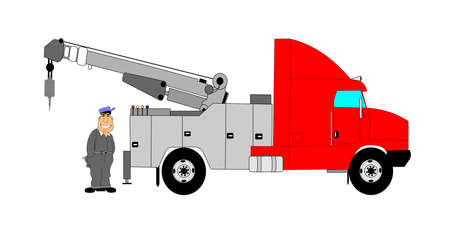 heavy duty tow truck with driver