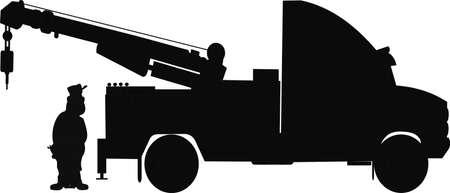zware sleepwagen met chauffeur silhouet Stock Illustratie