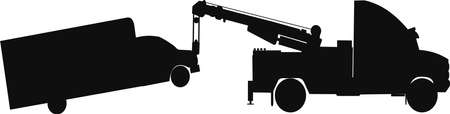 heavy duty: heavy duty tow truck towing van  in silhouette Illustration