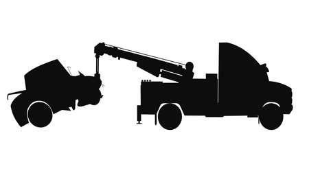 vernielde auto gesleept in silhouet Stock Illustratie