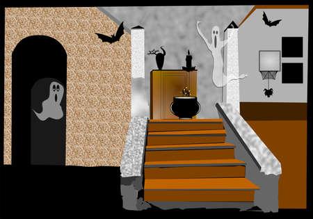 dilapidated: haunted house interior Stock Photo