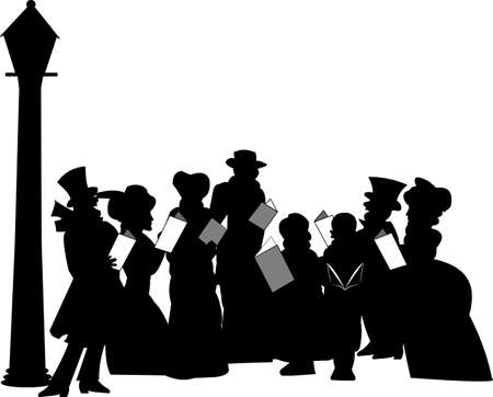 carolers in silhouette