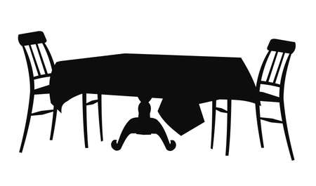 round chairs: table and chair silhouette Illustration