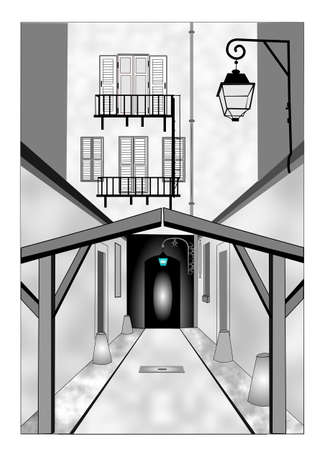 dappled: old alley way to tunnel concept Illustration
