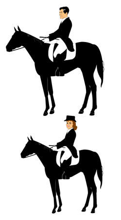 riding boot: man and woman on horseback  Illustration