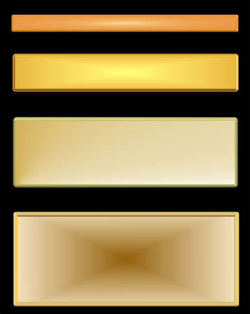 gold toned metal nameplates over black