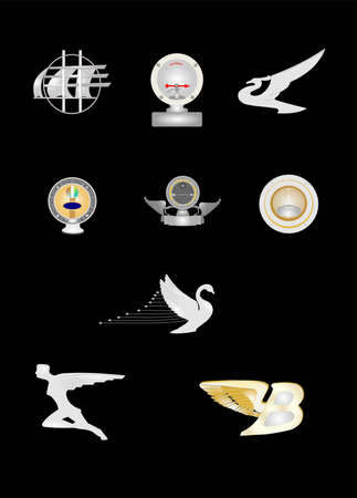 vintage hood ornaments from 20s and 30s Stok Fotoğraf - 23197736