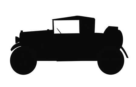 1920s roadster with rumble seat in silhouette