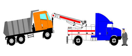 heavy duty tow truck towing dump truck with driver  Vector