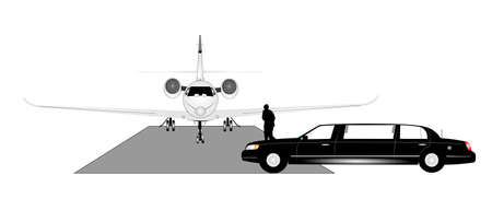 prestige: man running from his limo to his corp jet concept Illustration