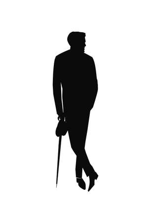 good looking man: sytlish man with umbrella in silhouette