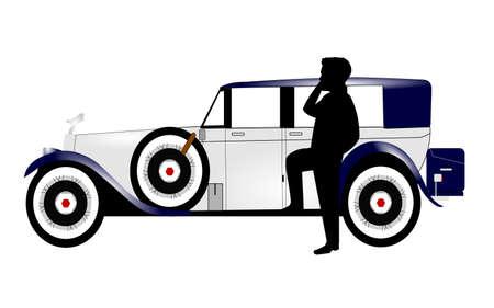man on cell phone: el hombre en el tel�fono celular en frente de coche de �poca