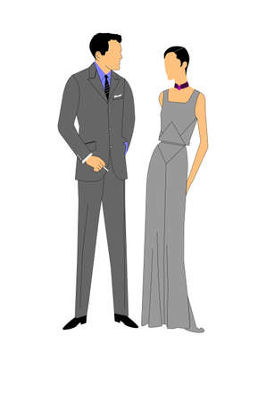 poise: vintage couple in formal attire Illustration