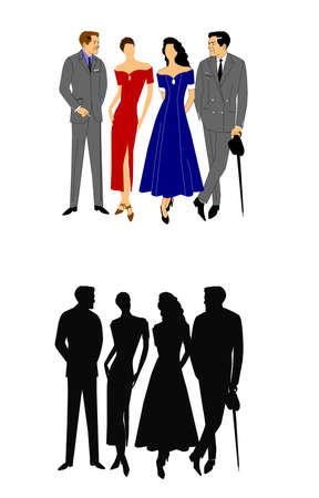 debonair: two couples talking in 2 styles