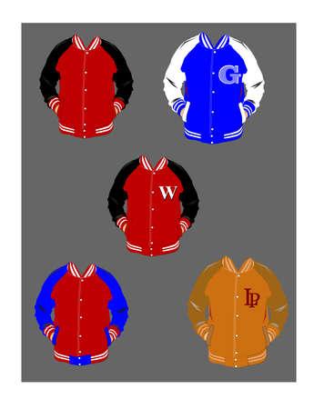 high detail: varsity lettermen jackets over gray  Illustration