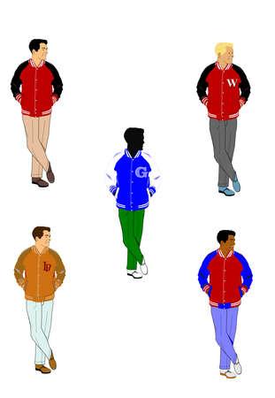 prestige: men in varsity jackets