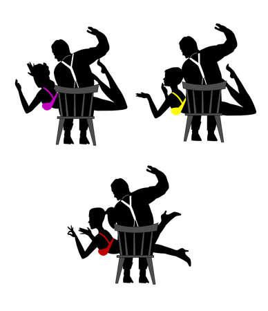 suspenders: spanking concept  Illustration