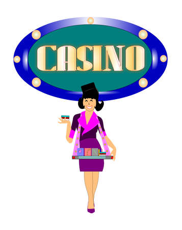 cigarettes: casino woman selling cigarettes in front of sign background