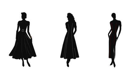 poise: mujer en silueta llevando vestidos