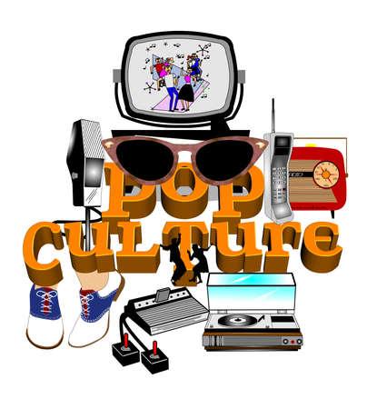 culture: pop culture mashup background Illustration