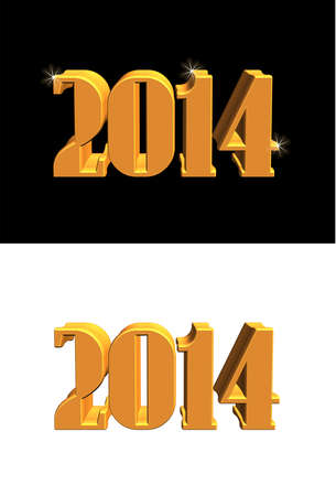 2014 new years design in 3d in 2 styles Vector