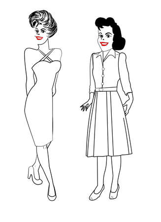 over the shoulder: two ladies posing from different time eras in line drawing