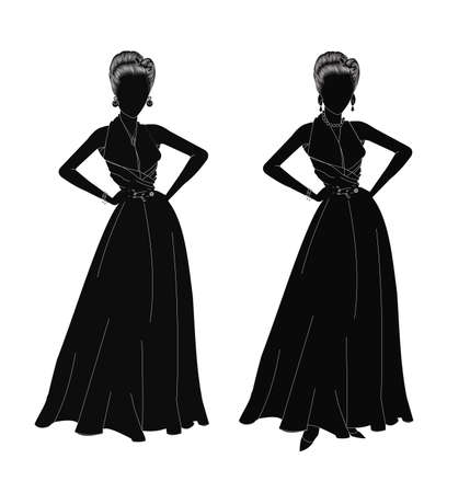 evening party: ladies in silhouette dressed for the special event