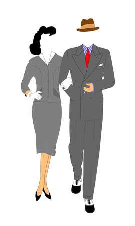retro couple walking  Illustration