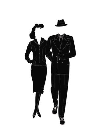gangster couple in silhouette  Illustration