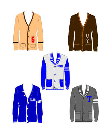 prestige: varsity sweaters in various styles and colors  Illustration
